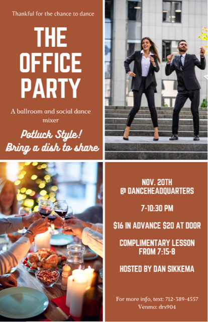 The Office Party Thanksgiving Edition: Social, Ballroom & Club Dancing