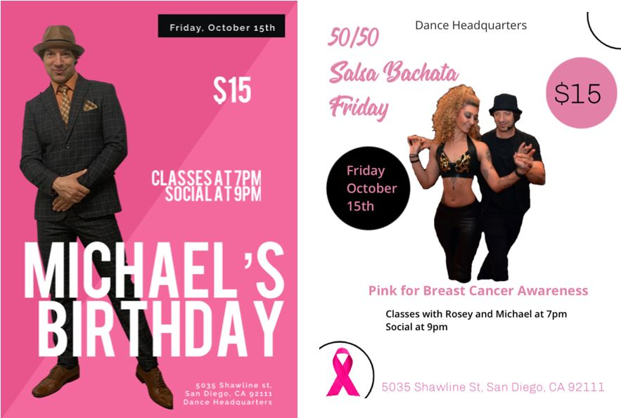 Salsa Bachata Friday w/Michael & Rosey 🎀 🎀Breast Cancer Awareness 🎀🎀 & Celebrate Michael's Bday